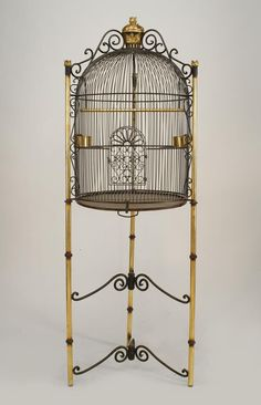 French Victorian style Cent) black iron dome form bird cage supported on tripod base with 2 scroll design stretchers. Bird Cage Design, Victorian Irons, Victorian Art, Antique Bird Cages, The Caged Bird Sings, Buy Birds, Pet Furniture, Scroll Design, Beautiful Birds