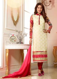 Majestic Off White Digital Print Work Designer Straight Salwar Suit