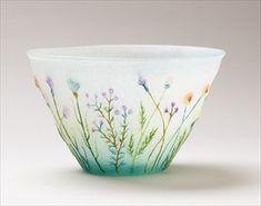 飯塚亜裕子 《野原のうつわ》 Glass Vessel, Mosaic Glass, Fused Glass, Stained Glass, Glass Art, Kitchen Board, One Stroke Painting, Vintage Cups, Chawan