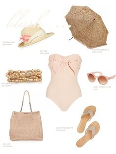 Mad Men summer wear | via Dust Jacket - oh man that bathing suit is adorable! I love this vintage swim look.