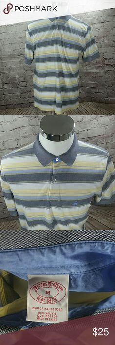 """Brooks Brothers Original Fit Medium Polo Brooks Brothers Men's Polo Shirt Size M Original Fit 346 Blue Yellow  Striped  The Original Polo with Blue and Yellow stripes.   Fabric is 100% cotton  Packaged and ready to ship:    Measurements (all measurements were taken with the garment laying flat and are approximate):  Shoulder to shoulder:  18 1/2"""" Chest (armpit to armpit):  21"""" Sleeve (from shoulder seam):  10"""" Length (top of the collar to helm):  30"""" Brooks Brothers Shirts Polos"""