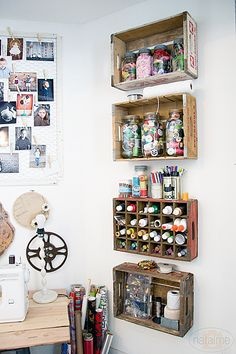 Crate Shelves from Natalme - Fabulous creative storage solutions for your studio! via hearthandmadeuk Crate Shelves from Natalme - Fabulous creative storage solutions for your studio! via hearthandmadeuk Craft Room Storage, Art Storage, Creative Storage, Storage Shelves, Creative Ideas, Storage Crates, Craft Rooms, Office Storage, Bedroom Storage