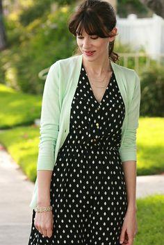 Polka dot dress, mint cardigan, layered necklaces