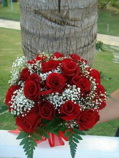 Lovely Wedding Bouquet Of: Classic Red Roses, White Baby's Breath (Gypsophila) & Green Leather Leaf Fern~~~~