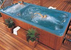 Swim spa/hot tub combo