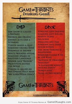 Game Of Thrones drinking game - Game Of Thrones Memes