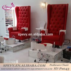the chairs, the little rolling chairs, the water bowl, and the mirror box that's supporting the water bowl ! Nail Salon Chairs, Nail Salon Furniture, Nail Salon Decor, Beauty Salon Decor, Beauty Salon Interior, Salon Interior Design, Nail Salon Design, Beauty Room, Room Decor Bedroom
