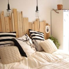 random upcycled timber bed head... looks cool! Maybe stained or painted