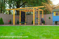 Przykładowe realizacje - silownieogrodowe.com Kids Outdoor Play, Outdoor Play Areas, Outdoor Gym, Kids Play Area, Backyard For Kids, Backyard Projects, Garden Climbing Frames, Painted Tires, Plate Storage
