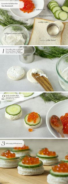 Tea Sandwich: Cucumber & Salmon Roe — Oh, How Civilized