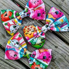 shopkins hair bows. Shopkins fabric bows. On sale! (From $6 to $5.25) check them out. Beautiful colors on these fabrics.