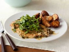 No. 11: Food Network Kitchen's Chicken Piccata : Classic chicken piccata is made with a heavy butter-and-wine-based sauce, but this version uses just a touch of both at the end for bold flavor with fewer calories.