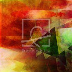 Abstrakt 2017 001 als Leinwand von Bässler Christine erhältlich bei Fine Art Print | abstrakt digital formen farben 3d textur warm orange gelb grün computerkunst kreis dreieicke oval stufen eyecatcher