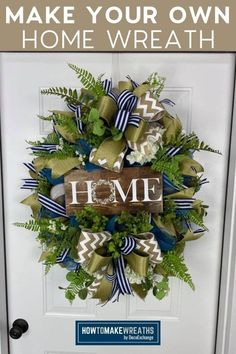 Home is where the heart is! Check our tutorial on how we make this deco mesh home wreath that's sure to brighten up your front door. This DIY wreath is beautiful and perfect for everyday decor. Diy Wreath, Grapevine Wreath, Frame Wreath, Wreath Crafts, Diy Crafts, How To Make Bows, How To Make Wreaths, Front Door Decor, Wreaths For Front Door