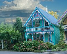 Ginger Bread House, Ontario, CA Id like to see this Hippie Vintage, Dreamland, Victorian Style Homes, Colourful Buildings, Cute House, Happy House, Cozy Cottage, Play Houses, Tree Houses