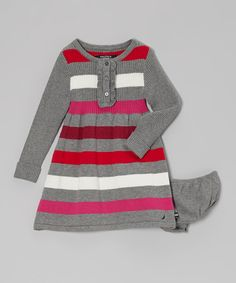 Take a look at this Gray Stripe Sweater Dress - Girls on zulily today!