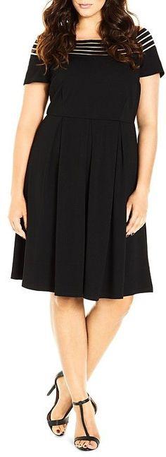 Plus Size Illusion Stripe Dress