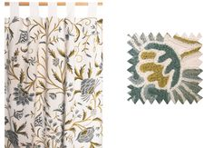 Camellia crewel work curtains, hand made in Kashmir, ethical furnishings.