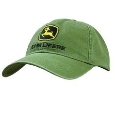 f76bf971e John Deere Mens Heavy Washed Canvas Hat Cap W Classic Logo Green