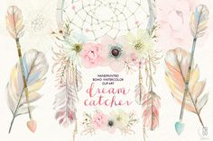 Clip Art Wedding Invitation Watercolor floral dreamcatcher boho by GrafikBoutique on Creative Market Pocket Scrapbooking / Project Life / Journaling / Memory Keeping Dream Catcher Pink, Watercolor Wedding Invitations, Boho, Bohemian Theme, Floral Illustrations, Watercolor Flowers, Watercolour Art, Watercolors, Watercolor Illustration