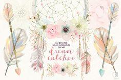 Watercolor floral dreamcatcher boho
