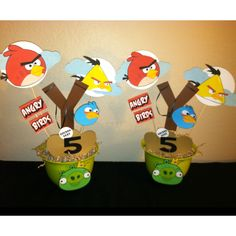 Angry birds centerpieces!!