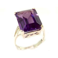 Luxury Solid Sterling Silver Large 16x12mm Octagon cut Synthetic Alexandrite Ring - Finger Sizes 5 to 12 Available -