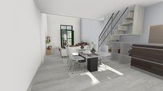 Comedor de un apartamento con escalera a la estancia superior.