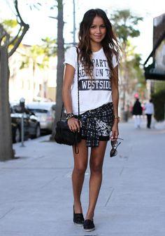 Espadrille shoes graphic top black shorts shirt tied around waist