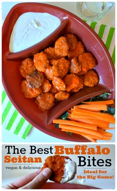 The Best Buffalo Seitan Bites - Tender, chewy, and the best size for dipping and snacking :). These are the perfect indulgence when you're craving game day eats! Click for the recipe or pin this for later <3