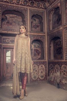 Stylish Pakistani Dress by Maria B in Beutiful Golden and Maroon color embellished with Nagh, Pearls, Sequence & Cut work Patches. Deliver on Time in USA. Pakistani Dresses Online, Eid Dresses, Pakistani Clothing, Chiffon Dresses, Pakistani Outfits, Bridal Dresses, Formal Dresses, Formal Wedding, Wedding Party Dresses