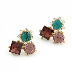 Sweet Korean Style Rhinestone Inlaid Flowers Combo Ear Studs - Coffee