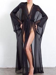 Marika Vera CECILIA Silk Chiffon Long Kimono Robe