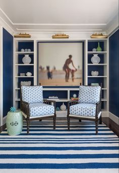 Royal/Navy Walls-House of Turquoise: Digs Design Company House Of Turquoise, Spool Chair, Spindle Chair, Swivel Chair, Blue Office, Office Chic, Office Decor, Navy Walls, Blue Paint Colors