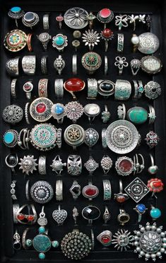 and recently my niece got me this case to organize them. and recently my niece got me this case to organize them. Didn't know I had enough to fill it. Bohemian Style Jewelry, Hippie Jewelry, Cute Jewelry, Jewelry Accessories, Jewlery, Boho Chic, Fashion Accessories, Turquoise Jewelry, Silver Jewelry