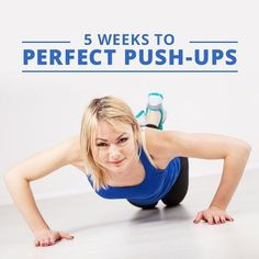 Push-ups are one of the best exercises around! Try this 5 Weeks to Perfect Push-Ups challenge! Push-ups are one of the best exercises around! Try this 5 Weeks to Perfect Push-Ups challenge! Push Up Challenge, Workout Challenge, Workout Ideas, Challenge Images, Workout Plans, Girl Pushups, How To Do Pushups, Push Up Beginner, Back And Shoulder Workout