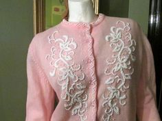 Vintage 1950's  Pink Beaded Sweater 1950's Made in by LuckyStarr