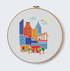 New York City - modern cross stitch pattern - PDF format - instant download Buy 2 Get 1 Free