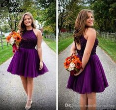 Purple Short Homecoming Dresses Halter Neck Backless Beads Tulle Juniors Mini Prom Party Gowns Sweet 16 Cheap Plus Size Cocktail Bridesmaid Online with $92.47/Piece on Nameilishawedding's Store | DHgate.com
