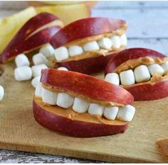 all you need is a red apple peanut butter and miniature marshmallows i think ill make these for my halloween party this - Healthy Halloween Snacks For Toddlers