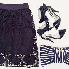 Ann Taylor Trellis Skirt, Bow Sandals and KS Bow Clutch by Stylish Petite, via Flickr