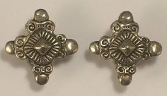 Clip On Earrings Silver Colored Metal Decorative Cross Intricate Design Vintage #Unmarked #Huggie