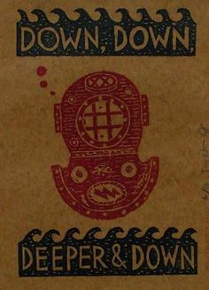"Jonny Hannah: ""Down, down, deeper & down"". Original linocut published by the Cakes & Ale Press, 2008"