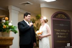 wedding vow exchange at Jehovah's witness hall in Lincoln, Ca