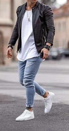 fashion menswear outfits Denim sweater mens men shirt hoodie wear style fashstop tracksuit vans converse street fash stop jeans ripped jeans denim shirts jacket hoodie boots tee Shorts Summer abs gym workout Trendy Mens Fashion, Stylish Mens Outfits, Classy Fashion, Casual Outfits, Mens Fashion Wear, Men Wear, Man Street Style, Herren Outfit, Men Style Tips