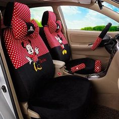New 5131 Mickey Minnie Mouse Car Seat Covers Seat Cushion Accessories Set 18PCS