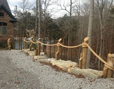"nautical piling landscape | Lisa chose 2"" Manila rope for for the above as well as this great look ..."