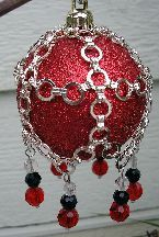 Medieval Christmas Ornament Cover Beading Pattern by Busy Crow Studio at Bead-Patterns.com