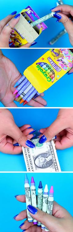 Easy & Simple Christmas Hacks, Tips and Tricks – Holiday Wrapping Ideas Money Disguised as Crayons Last Minute Christmas Gifts, Christmas Hacks, Simple Christmas, Holiday Gifts, Holiday Ideas, Funny Christmas, Tips And Tricks, Simple Gifts, Cool Gifts