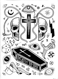 David M. Cook (aka Bonethrower) tattoo flash. The DEATH TO YOU coffin is wonderful.